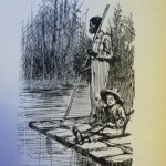 Drawing by Edward W. Kemble, original illustrator from the first edition of  ADVENTURES OF HUCKLEBERRY FINN by Mark Twain; Children's Classics, New York, 1992